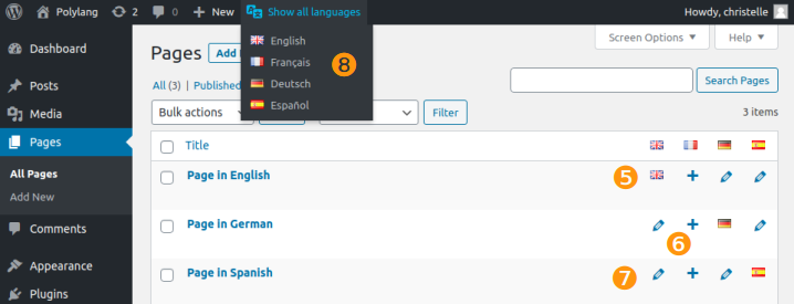 pages list table and filter language
