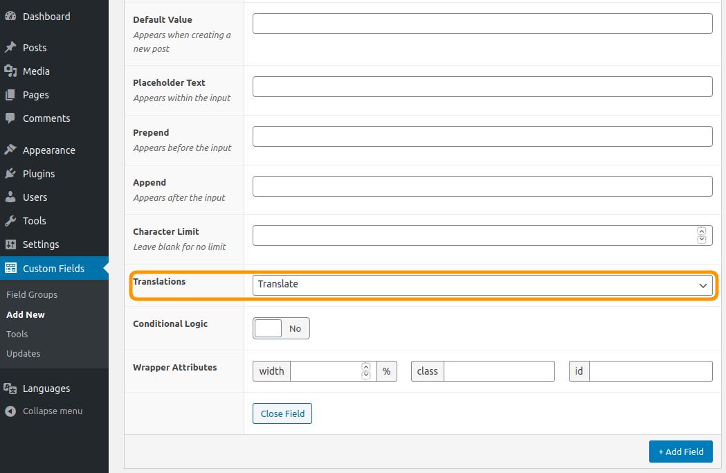 "Polylang Pro 2.8 add a ""Translations"" fields into ACF Pro custom fields groups interface."