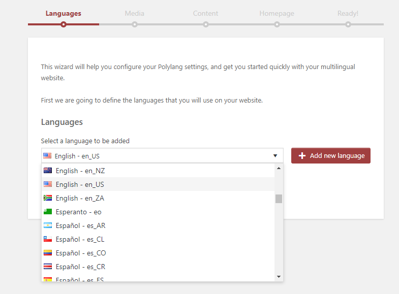 Setup wizard predefined languages