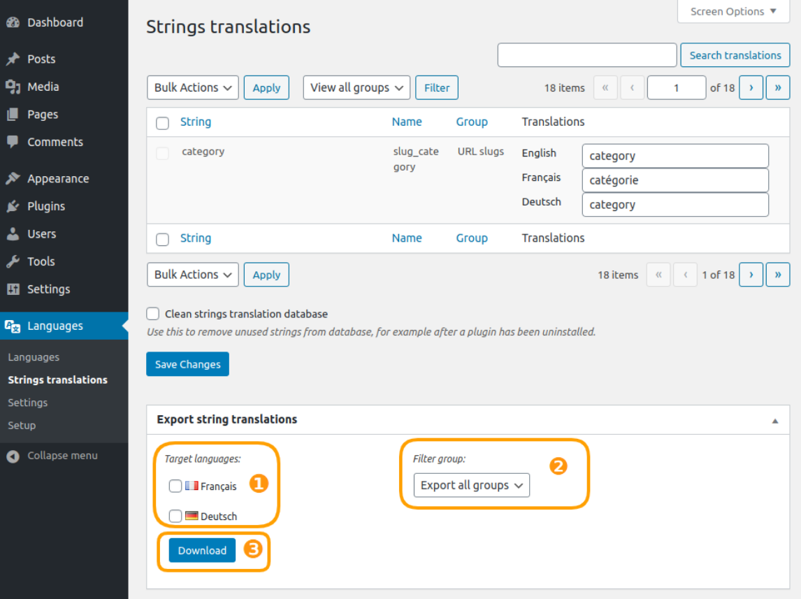 Strings translations export