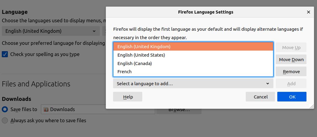 The Firefox Language settings window